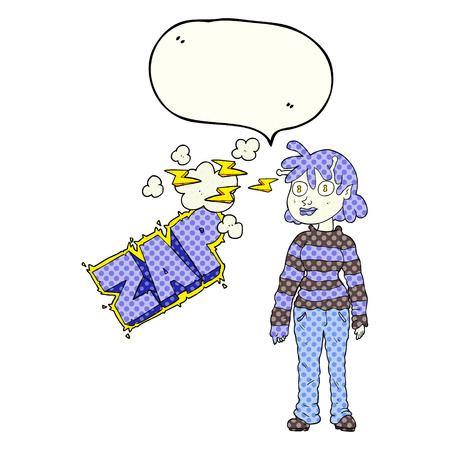 telepathy: freehand drawn comic book speech bubble cartoon casual alien girl using telepathy
