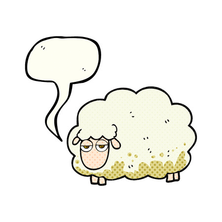 muddy: freehand drawn comic book speech bubble cartoon muddy winter sheep Illustration