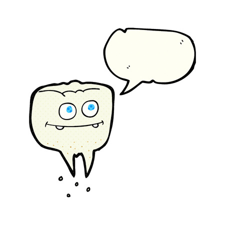 comic bubble: freehand drawn comic book speech bubble cartoon tooth