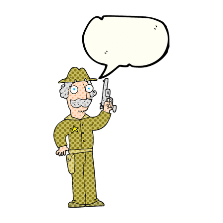 gunfighter: freehand drawn comic book speech bubble cartoon sheriff