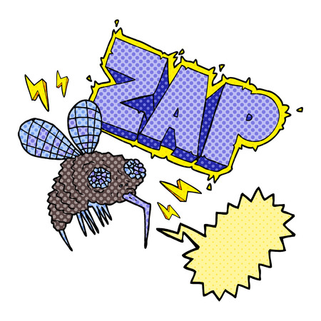zap: freehand drawn comic book speech bubble cartoon fly zapped Illustration