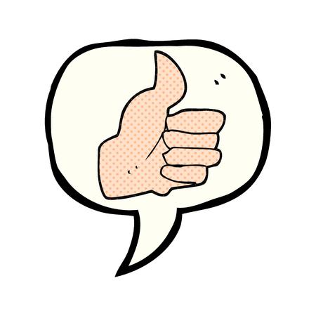 thumbs up symbol: freehand drawn comic book speech bubble cartoon thumbs up symbol