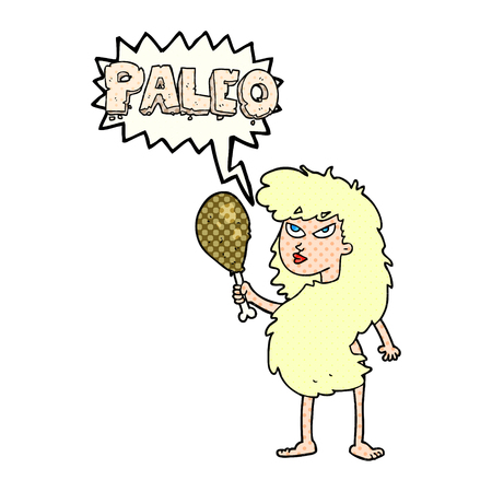 stoneage: freehand drawn comic book speech bubble cartoon woman on paleo diet