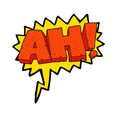 ah: freehand drawn comic book speech bubble cartoon AH! shout