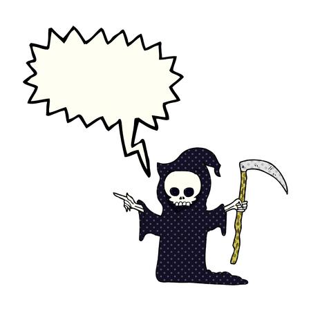 guadaña: freehand drawn comic book speech bubble cartoon death with scythe