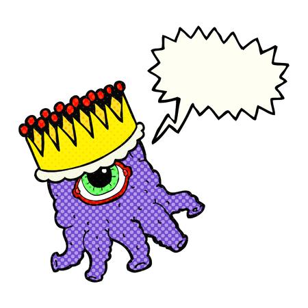 alien clipart: freehand drawn comic book speech bubble cartoon king alien