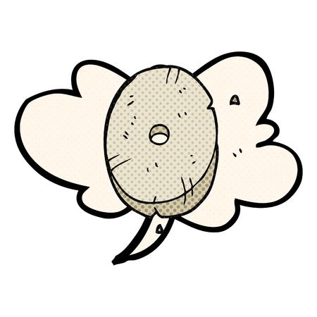 number zero: freehand drawn comic book speech bubble cartoon stone number zero Illustration