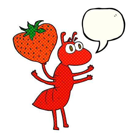 hormiga caricatura: alimentos llevar a pulso discurso del cómic dibujado burbujas de dibujos animados hormiga