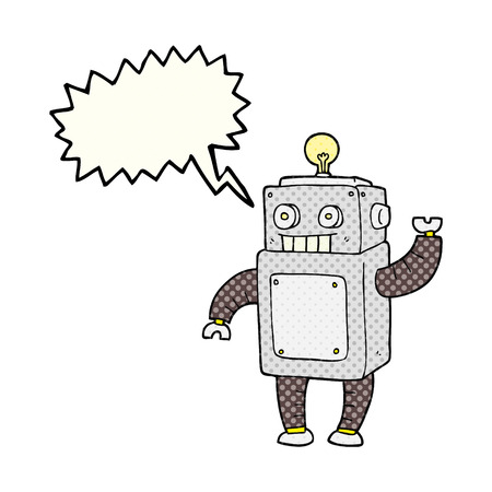 talking robot: freehand drawn comic book speech bubble cartoon robot Illustration