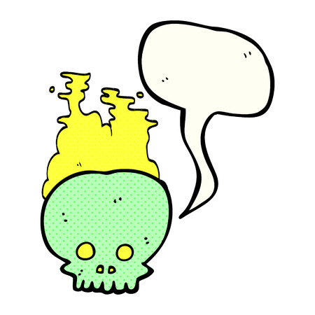 steaming: freehand drawn comic book speech bubble cartoon steaming skull