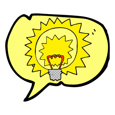 comic bubble: freehand drawn comic book speech bubble cartoon light bulb