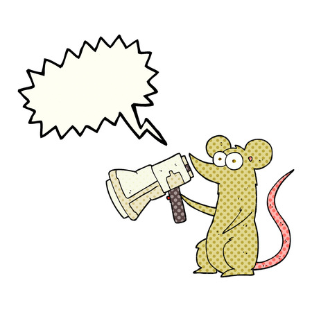 loudhailer: freehand drawn comic book speech bubble cartoon mouse with megaphone