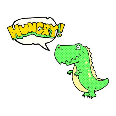 hungry: freehand drawn comic book speech bubble cartoon hungry dinosaur