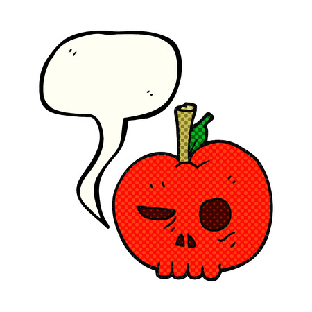 food poison: freehand drawn comic book speech bubble cartoon poison apple