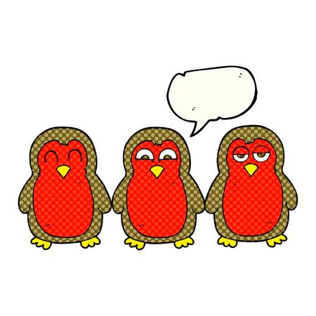 robins: freehand drawn comic book speech bubble cartoon christmas robins holding hands