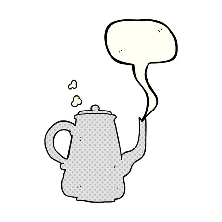 steaming: freehand drawn comic book speech bubble cartoon steaming  coffee pot