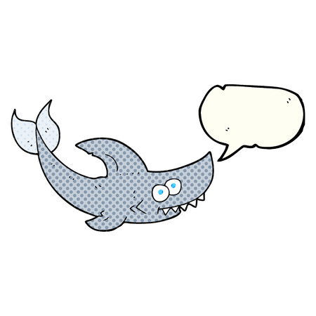 comic bubble: freehand drawn comic book speech bubble cartoon shark