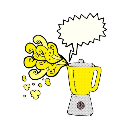 going crazy: freehand drawn comic book speech bubble cartoon blender going crazy