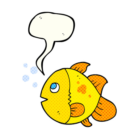 comic bubble: freehand drawn comic book speech bubble cartoon fish