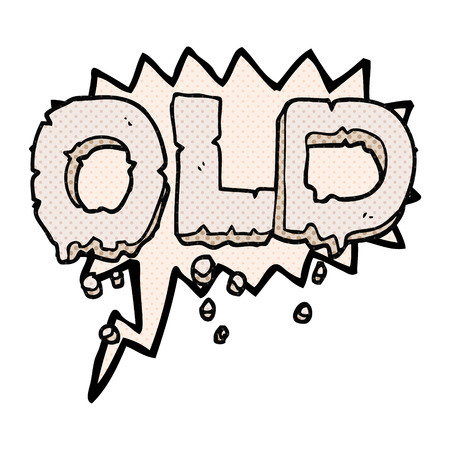 crumbling: freehand drawn comic book speech bubble cartoon word old Illustration