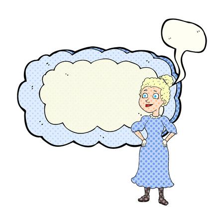 victorian woman: freehand drawn comic book speech bubble cartoon victorian woman in dress