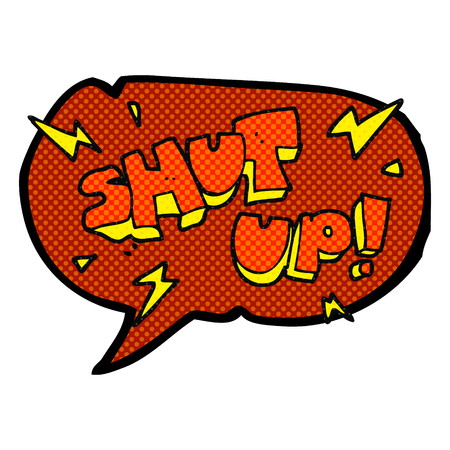 shut up: freehand drawn comic book speech bubble cartoon shut up! symbol