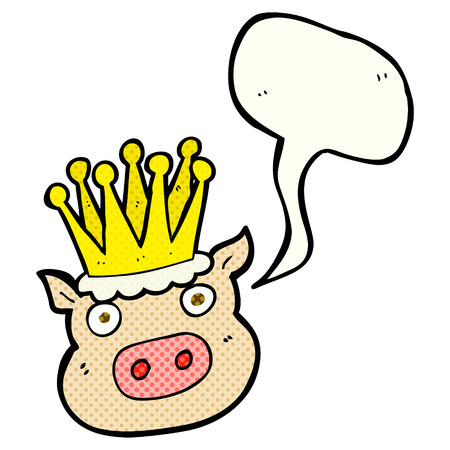 freehand drawn comic book speech bubble cartoon crowned pig Illustration