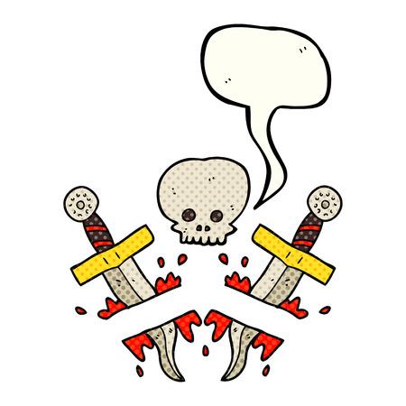 dagger tattoo: freehand drawn comic book speech bubble cartoon dagger tattoo