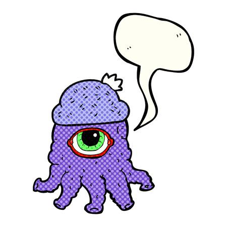 alien clipart: freehand drawn comic book speech bubble cartoon alien wearing  hat