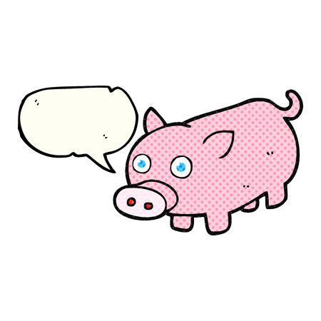 piglet: freehand drawn comic book speech bubble cartoon piglet Illustration