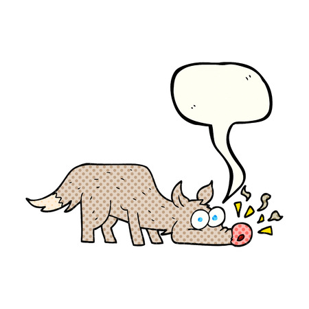 sniffing: freehand drawn comic book speech bubble cartoon dog sniffing Illustration