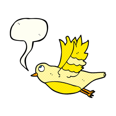 comic bubble: freehand drawn comic book speech bubble cartoon bird flying