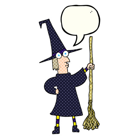 comic bubble: freehand drawn comic book speech bubble cartoon witch with broom Illustration
