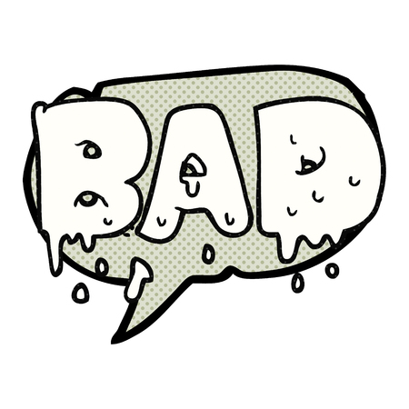 comic bubble: freehand drawn comic book speech bubble cartoon word bad