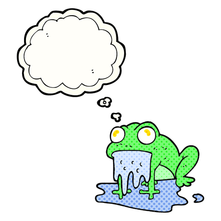 gross: freehand drawn thought bubble cartoon gross little frog Illustration