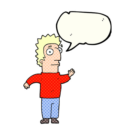 comic bubble: freehand drawn comic book speech bubble cartoon man waving Illustration