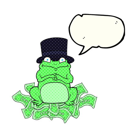 scheming: freehand drawn comic book speech bubble cartoon rich frog in top hat