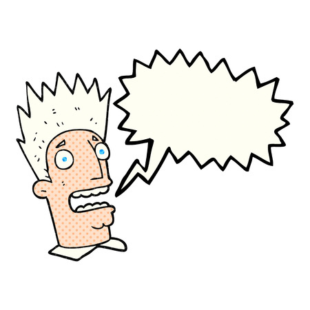 shocked man: freehand drawn comic book speech bubble cartoon shocked man