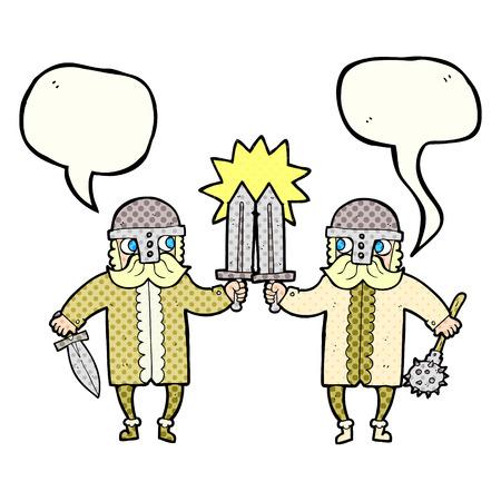 warriors: freehand drawn comic book speech bubble cartoon viking warriors
