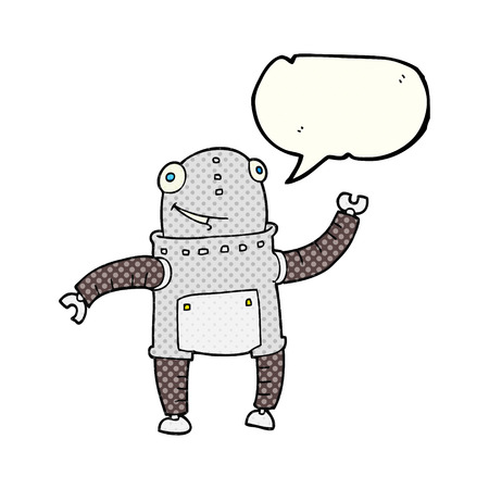 talking robot: freehand drawn comic book speech bubble cartoon robot Illustration