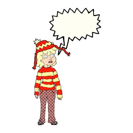 sad teenage girl: freehand drawn comic book speech bubble cartoon teenager