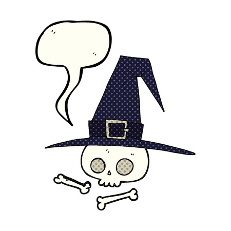 pointy hat: freehand drawn comic book speech bubble cartoon witch hat with skull