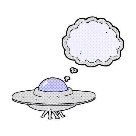 flying saucer: freehand drawn thought bubble cartoon flying saucer