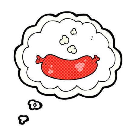 unhealthy thoughts: freehand drawn thought bubble cartoon hot sausage Illustration