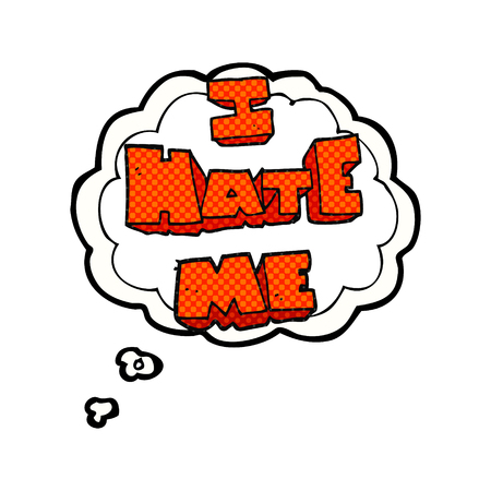 hate: I hate me freehand drawn thought bubble cartoon symbol