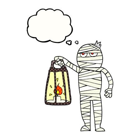 mummified: freehand drawn thought bubble cartoon mummy
