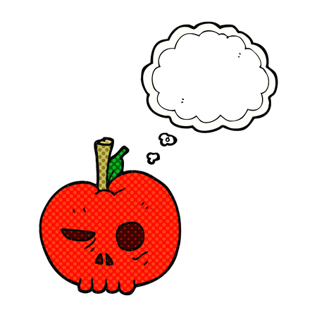 food poison: freehand drawn thought bubble cartoon poison apple Illustration