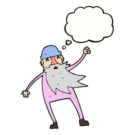 slip homme: freehand pensée dessinée bande dessinée à bulles vieil homme en sous-vêtements thermiques