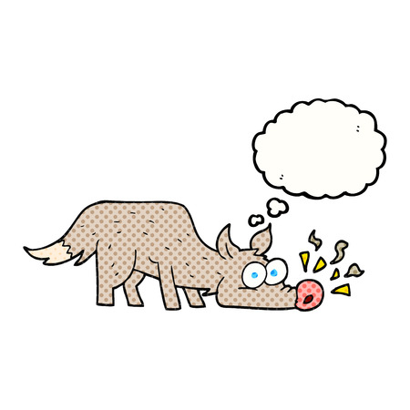 sniffing: freehand drawn thought bubble cartoon dog sniffing