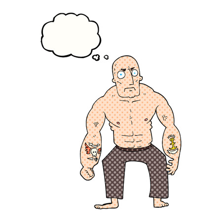 tough man: freehand drawn thought bubble cartoon tough man
